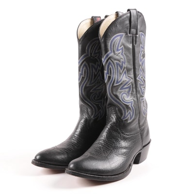 Men's Cowtown Black Leather Cowboy Boots
