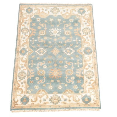 4'2 x 6'2 Hand-Knotted Indian Oushak Style Wool Rug
