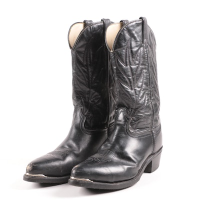 Lehigh Black Leather Cowboy Boots