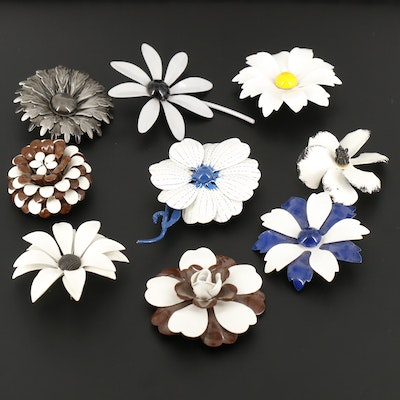 White, Brown, Gray and Yellow Enamel Floral Brooches