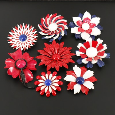 Red, White and Blue Enamel Floral Brooches