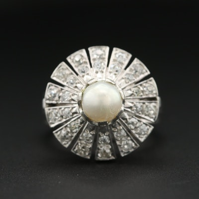 Platinum and 18K White Gold Cultured Pearl and Diamond Ring 14K Accents