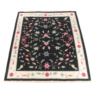8' x 10' Handwoven Indian Dhurrie Floral Wool Rug