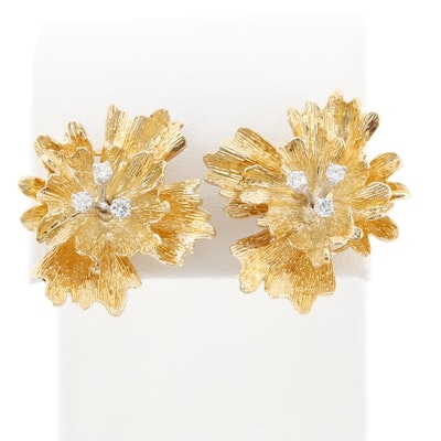 Jankner 14K Yellow Gold Diamond Floral Earrings