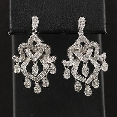 14K White Gold 1.05 CTW Diamond Earrings