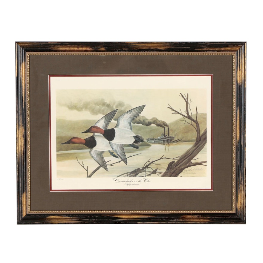 """John A. Ruthven Offset Lithographs """"Canvasbacks on the Ohio"""""""