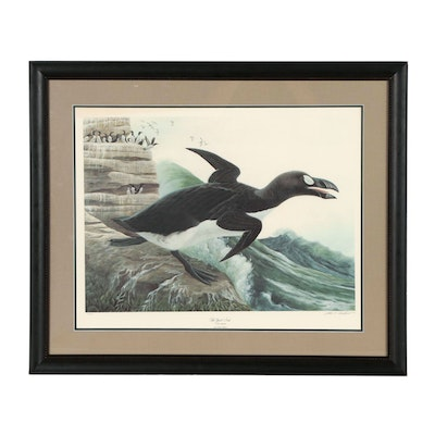 "John A. Ruthven Offset Lithograph ""The Great Auk on Eldey Rock"", 1975"