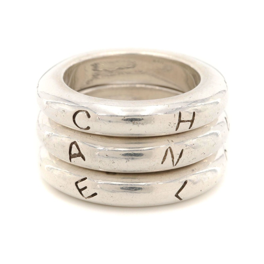 Vintage Chanel Sterling Silver Logo Stacking Rings