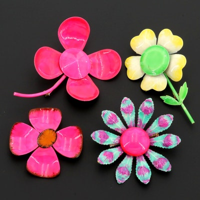 Pink, Yellow and Green Enamel Floral Brooches