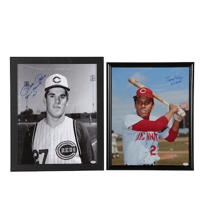 Framed Tony Perez and Pete Rose Signed Photo Prints  PSA/COA