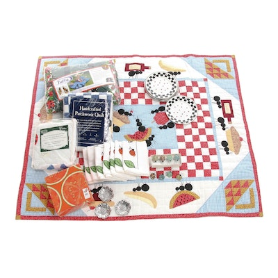 Summer and Picnic Themed Tableware, Linens, and Quilted Throws