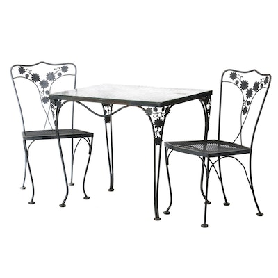 Wrought Iron Glass Top Patio Table and Chairs