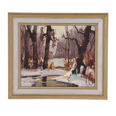 Walter Sacks Landscape Oil Painting of Winter Scene