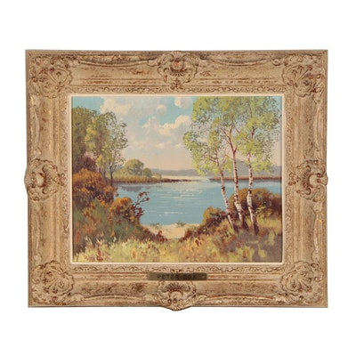 Peter Cox Landscape Oil Painting of Lake Scene