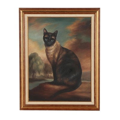 Elaine Vollherbst Oil Painting of Siamese Cat, 1991