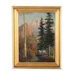 Wilderness Landscape Oil Painting, Circa 1940