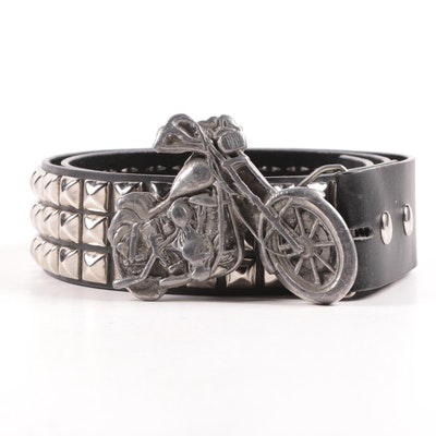 Bergamot Brass Works Motorcycle Belt Buckle with Pyramid Studded Leather Belt