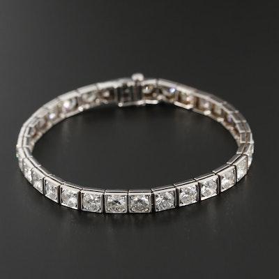 14K White Gold 10.10 CTW Diamond Line Bracelet