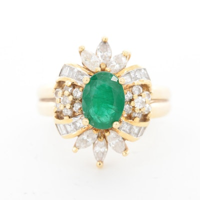 18K Yellow Gold 1.00 CT Emerald and 1.01 CTW Diamond Halo Ring