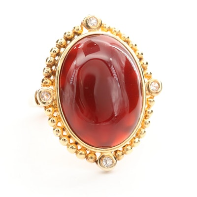 Sterling Silver Carnelian and Topaz Ring