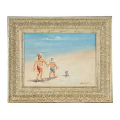 Ann Jackson Oil Painting of Children on Beach