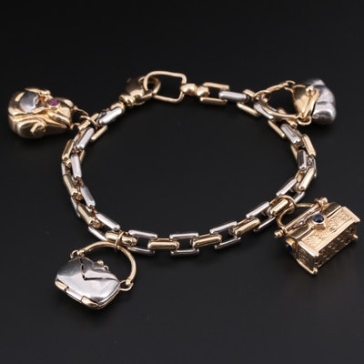14K White and Yellow Gold Charm Bracelet