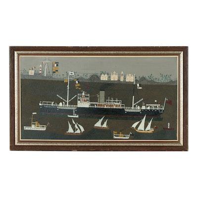 Folk Art Painting of British Tanker War Mehtar