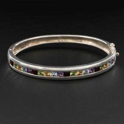 Sterling Silver Amethyst, Garnet, Blue Topaz Cuff Bracelet