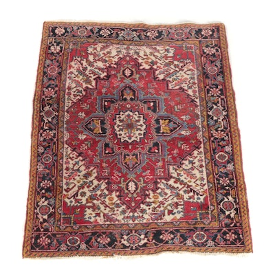 4'10 x 6'6 Hand-Knotted Persian Heriz Wool Rug