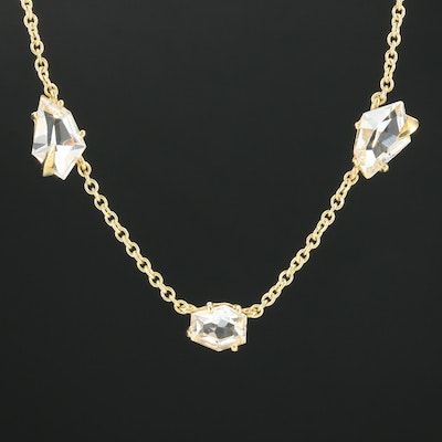 Alexis Bittar 18K Yellow Gold Rock Quartz Crystal Station Necklace