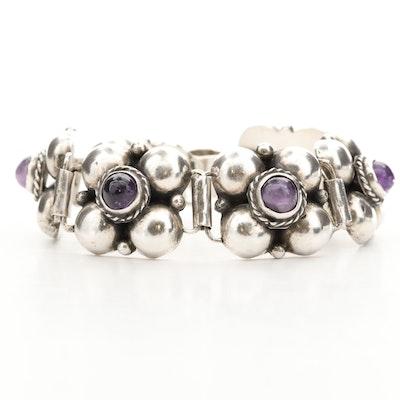 Mexican Sterling Silver Amethyst Bracelet
