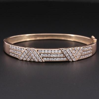 14K Yellow Gold 3.00 CTW Diamond Hinged Bangle Bracelet