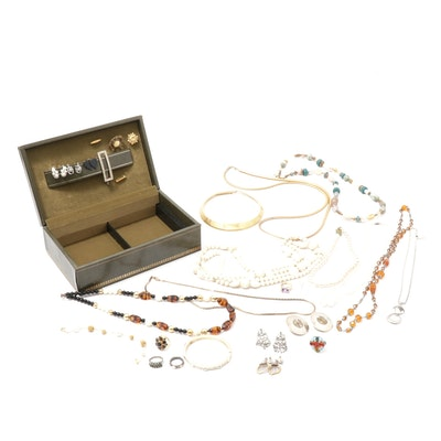 Rings, Earrings and Beaded Necklace Assortment in Vintage Jewelry Box