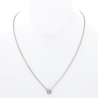 Andrea Candela Sterling Silver Diamond Pendant Necklace with 14K Gold Accents
