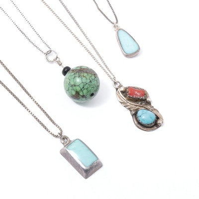 Sterling Turquoise and Coral Pendant Necklaces Including Southwestern Style