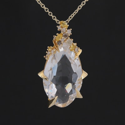 Alexis Bittar 18K Yellow Gold Rock Quartz Crystal, Diamond and Sapphire Necklace