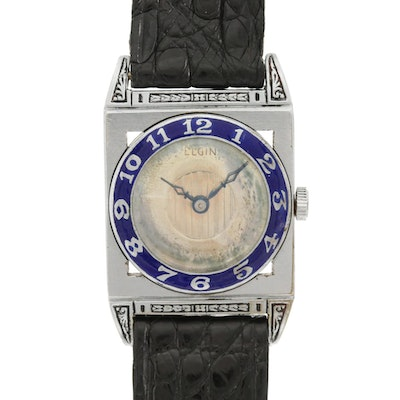 Vintage Elgin Piping Rock Stem Wind Wristwatch With Enamel Bezel, Circa 1920