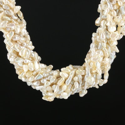Cultured Pearl and Diamond Torsade Necklace with 14K Yellow Gold Clasp