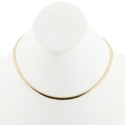14K Yellow Gold Domed Omega Chain Necklace