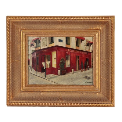 French Bistro Scene Oil Painting