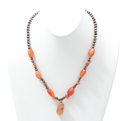 Sterling Silver Agate Beaded Necklace