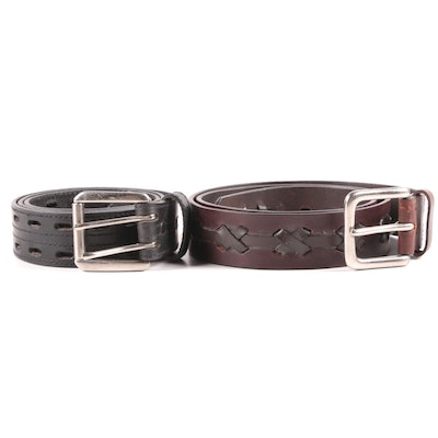 Black Perforated and Topstitch Leather and Brown Whipstitch Lace Leather Belts