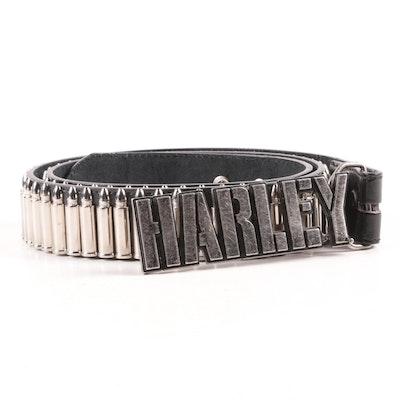 Harley-Davidson Logo Belt Buckle on Black Leather Belt with Faux Ammo