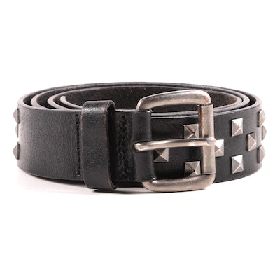 Black Split Leather Belt with Silver Tone Pyramid Stud Accents