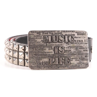 """""""Music Is Life"""" Themed Belt Buckle on Pyramid Studded Black Leather Belt"""