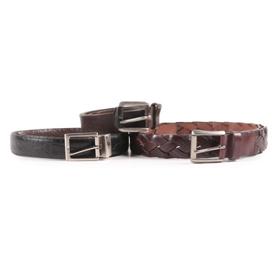 Men's Leather Belts in Dark Brown and Black Leather Including Reversible