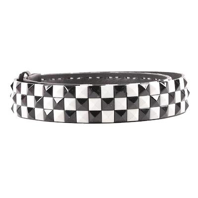 Black and White Checkered Pyramid Stud Black Leather Belt