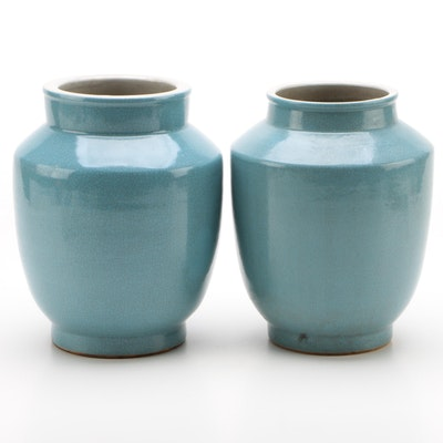 Pair of Chinese Blue Crackle Glaze Ceramic Vases