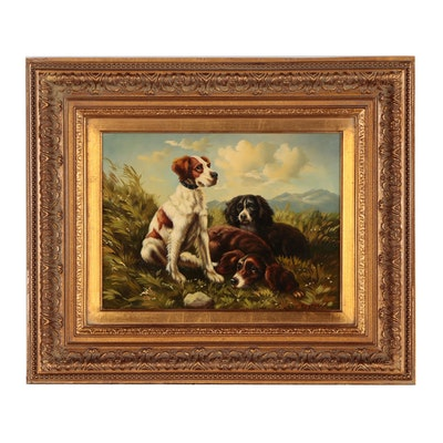 Canine Genre Oil Painting of Spaniels