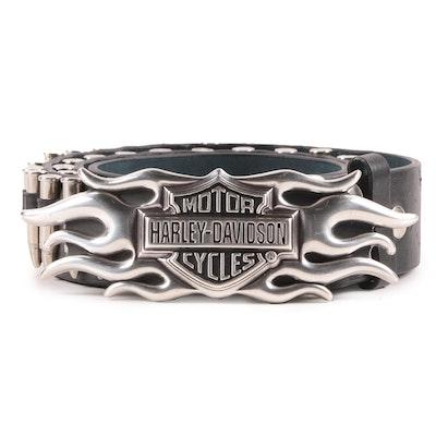 Harley-Davidson Silver Tone Logo Belt Buckle on Leather Belt with Faux Bullets